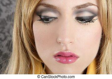 fashion retro blond woman portrait makeup detail
