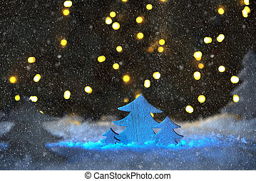 Wooden Christmas Tree With Snowflakes, Lights, Snow - White...