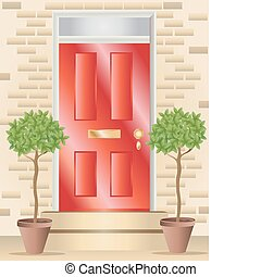 bay trees - vector illustration of two ornamental bay trees...