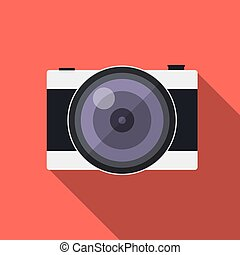 Flat style camera with long shadows retro style