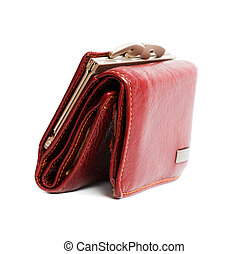 wallet - Nice red womans wallet isolated on white