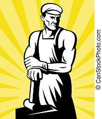 Blacksmith posing hammer - illustration of a Blacksmith...