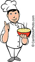 Cartoon Chef cook bowl of soup - illustration of a Cartoon...