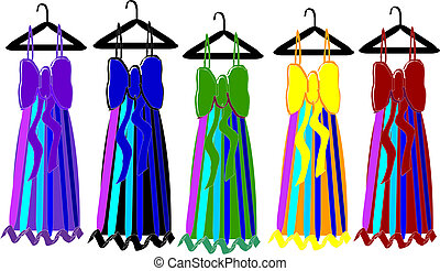 dresses - five party dresses different colors.