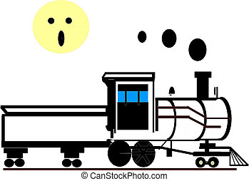 Old-Fashion Train - Vector of black vintage train with smoke...