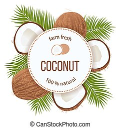 Ripe coconuts and palm leaves around circle badge with text...