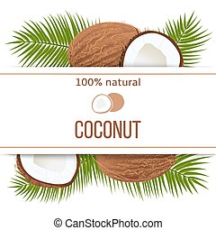 Ripe coconuts and palm leaves with text 100 percent natural....