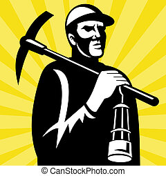 Coal miner with pickax and lamp - illustration of a Coal...