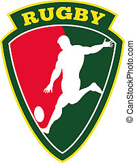 rugby player kicking ball - illustration of rugby player...