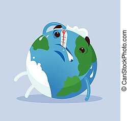 Unhappy tired ill planet Earth character. Global warming...