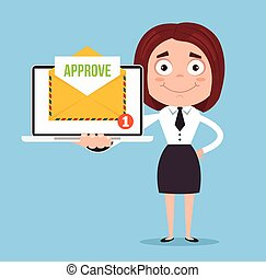 Happy smiling businessman office worker woman character receive approve letter document envelope by email online web site. Vector flat cartoon illustration