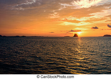 Sunset over the sea in Thailand - Beautiful natural...