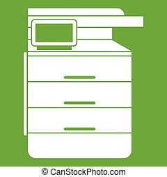 Multipurpose device, fax, copier and scanner icon green -...