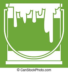 Paint can icon green - Paint can icon white isolated on...