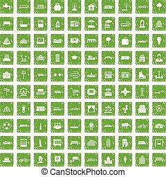 100 urban icons set grunge green - 100 urban icons set in...