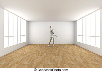 Elegance - 3D rendered Illustration Abstract, dancing woman...