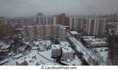 Aerial view of apartments houses in winter Moscow, Russia -...