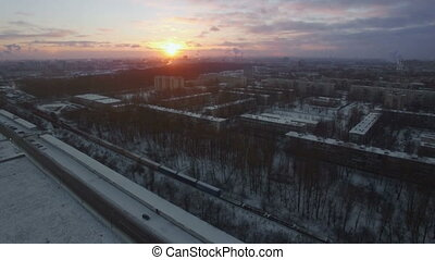 Aerial view of winter St. Petersburg at sunrise, Russia -...