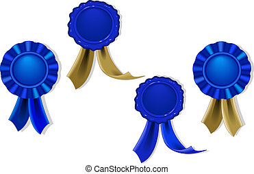 Blank seals and medals in blue