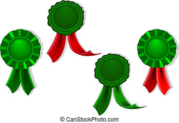 Blank seals and medals in green
