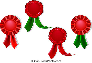 Blank seals and medals in red