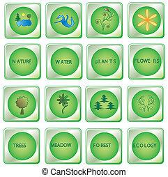 Green buttons - Set natural green buttons, vector