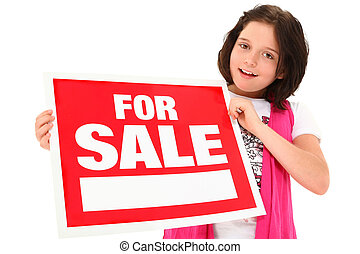 Beautiful Tween with For Sale Sign - Beautiful 12 eyar old...