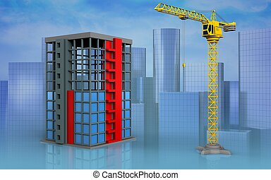 3d blank - 3d illustration of building construction over...