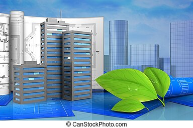 3d of leafs - 3d illustration of city buildings with...