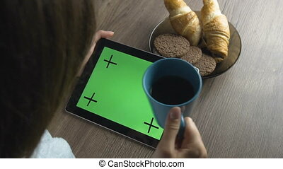 Breakfast Time with Tablet and Coffee