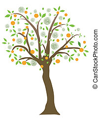 Fruit tree, object white isolated,vector