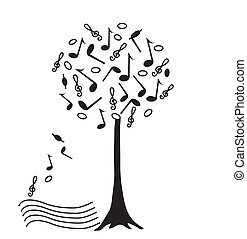 Music tree, illustration hand drawing.Vector.
