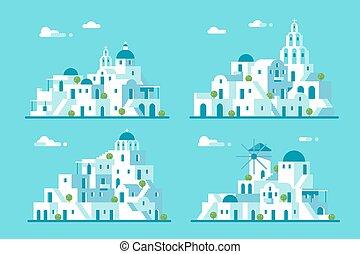 Flat design Santorini village set illustration vector