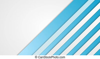 Blue and white striped abstract tech video animation - Blue...