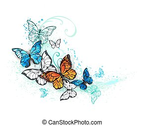 Artistic Morpho and monarchs - Realistic butterflies, blue...