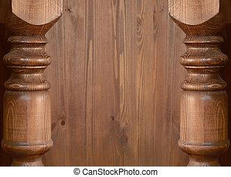 Carved baluster edges on wood - Focused carved baluster...