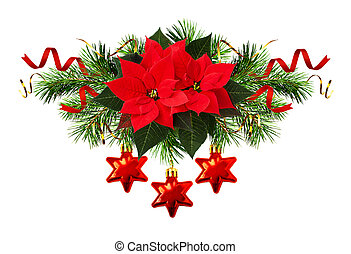 Red poinsettia flowers and Christmas decorations in holiday...