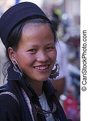 Black Hmong Woman - Black Hmong young women in the region of...