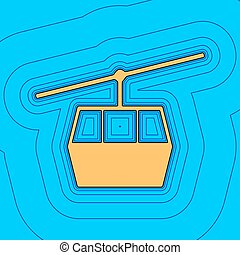 Funicular, Cable car sign. Vector. Sand color icon with...