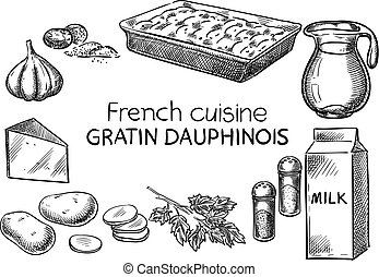 French cuisine. - Creative conceptual vector. Sketch hand...
