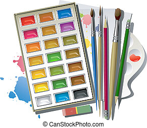 Art supplies: watercolor paints, brushes, pencils, eraser,...