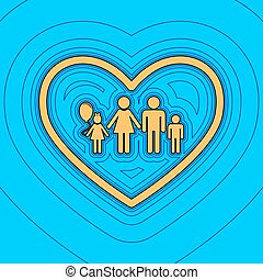 Family sign illustration in heart shape. Vector. Sand color...