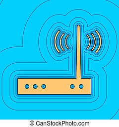 Wifi modem sign. Vector. Sand color icon with black contour...