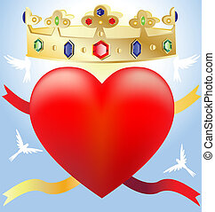 heart in the crown - on a blue background a big scarlet...
