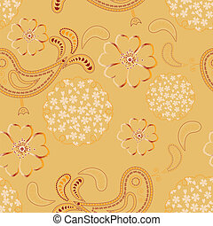 vector seamless ornament with birds and flowers