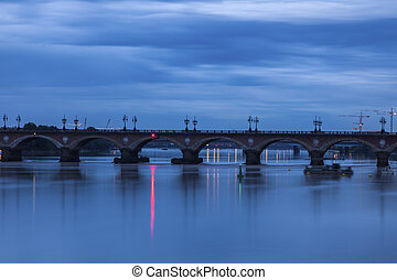 The Pont de Pierre in Bordeaux. Bordeaux,...