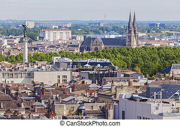 Aerial panorama of Bordeaux. Bordeaux, Nouvelle-Aquitaine,...