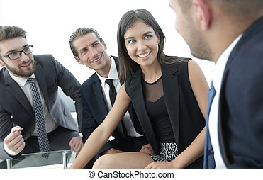 business team discussing with Manager work issues