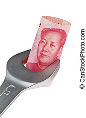 Stores and Yuan - Tools and bills of chinese Yuan currency