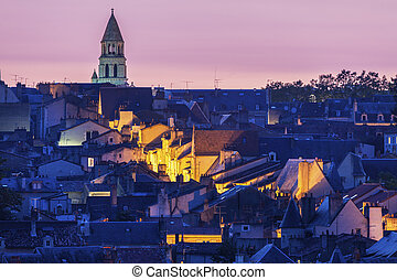 Panorama of Poitiers at sunset with Notre-Dame la Grande...